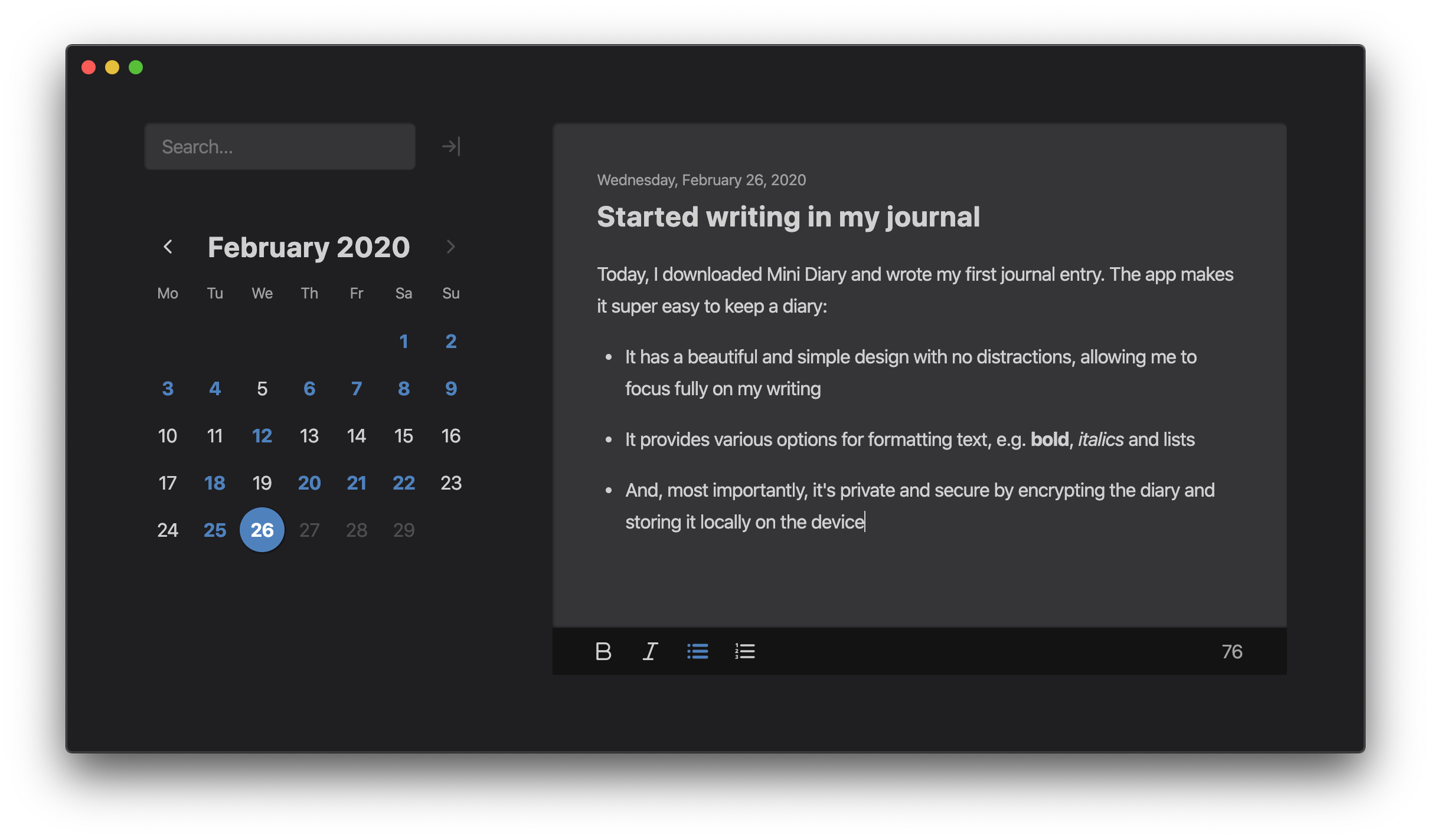 Screenshot of diary screen