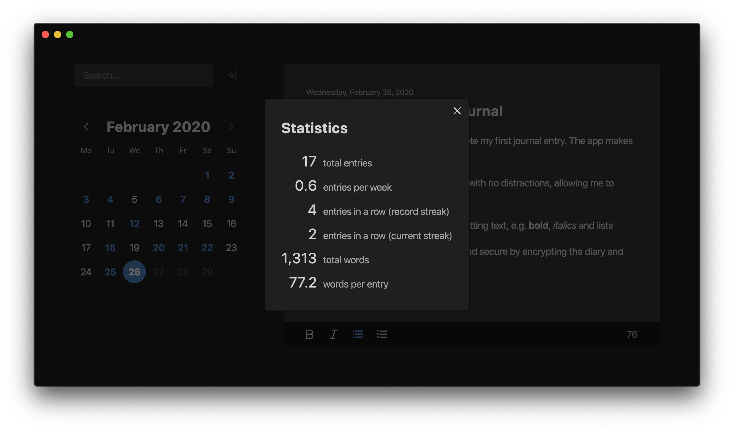 Screenshot of statistics screen